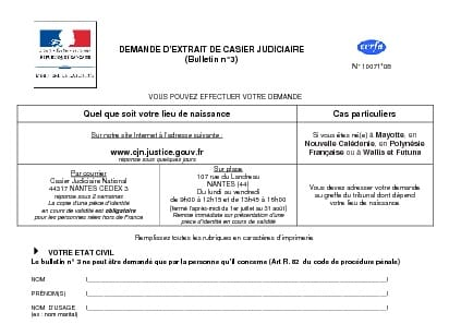 casier judiciaire 3 contact
