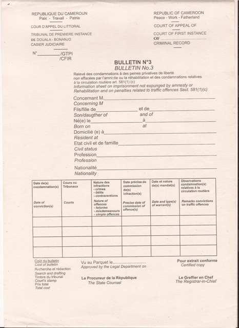 casier judiciaire bulletin 4