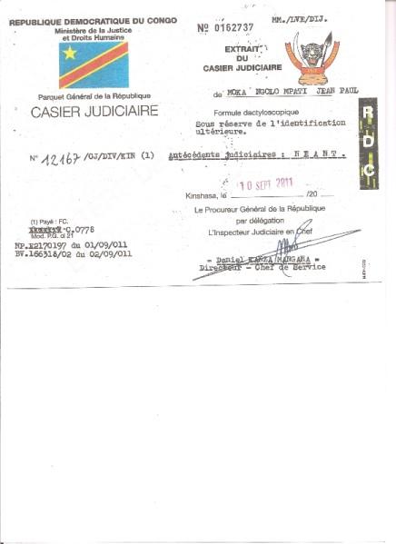 casier judiciaire kinshasa