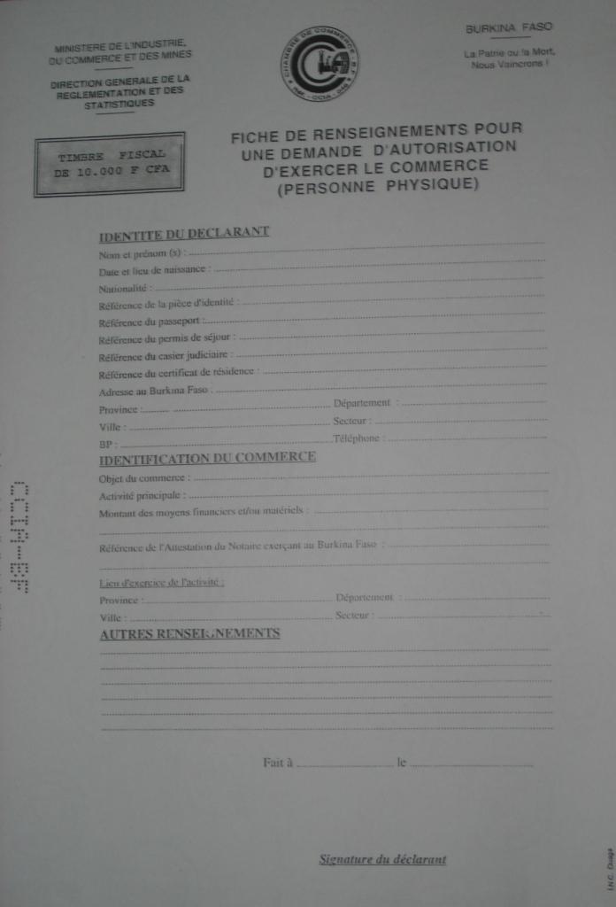 demande casier judiciaire burkina