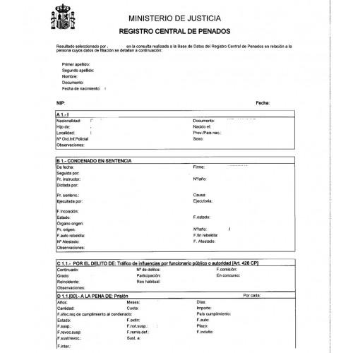 demande casier judiciaire espagnol