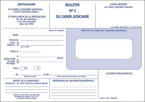 demande casier judiciaire gendarmerie