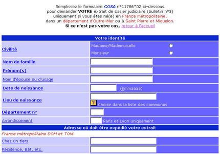 demande casier judiciaire internet