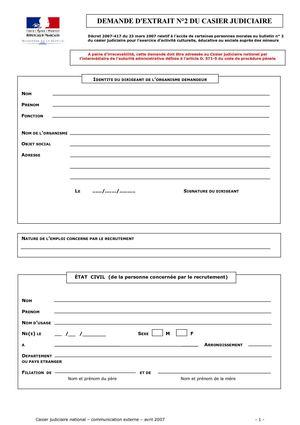 demande casier judiciaire numero 2 en ligne