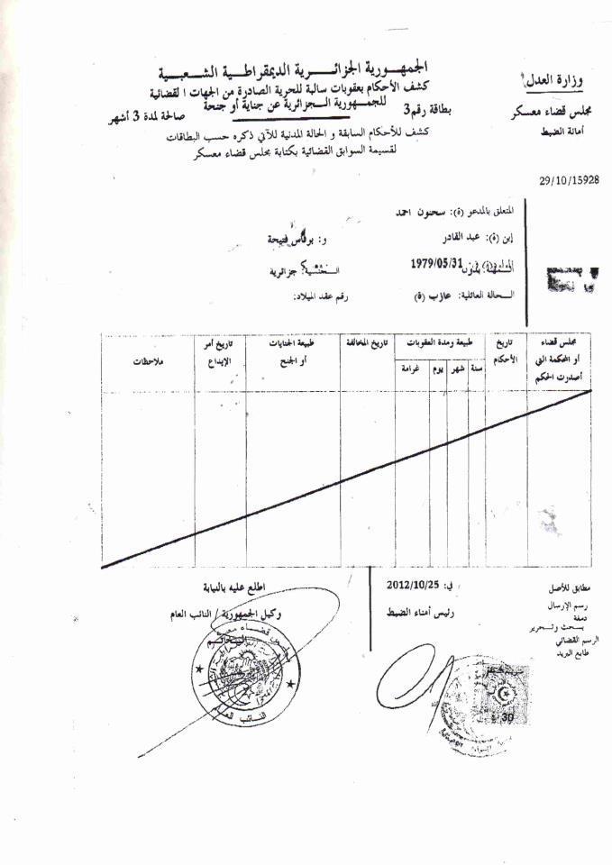 demande casier judiciaire pour algerien
