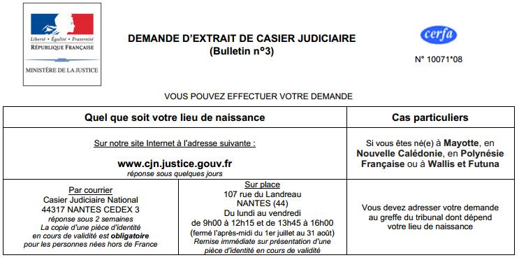 demande extrait casier judiciaire emploi