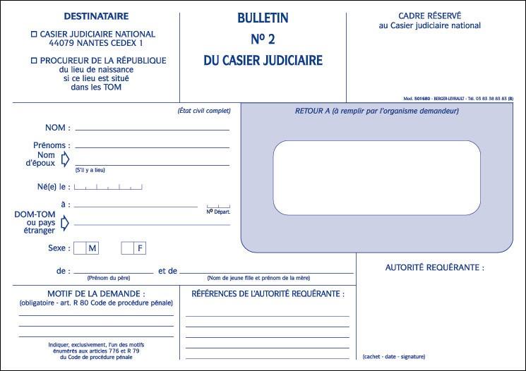 demande extrait casier judiciaire gendarmerie