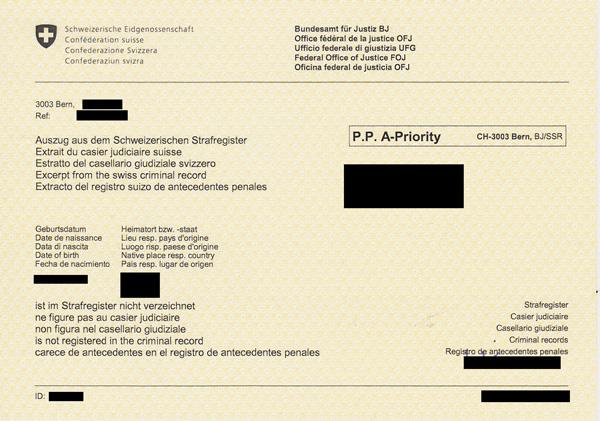 demande extrait casier judiciaire suisse