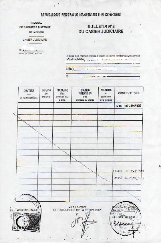 demande extrait casier judiciaire travail