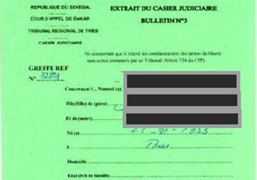 extrait casier judiciaire senegal
