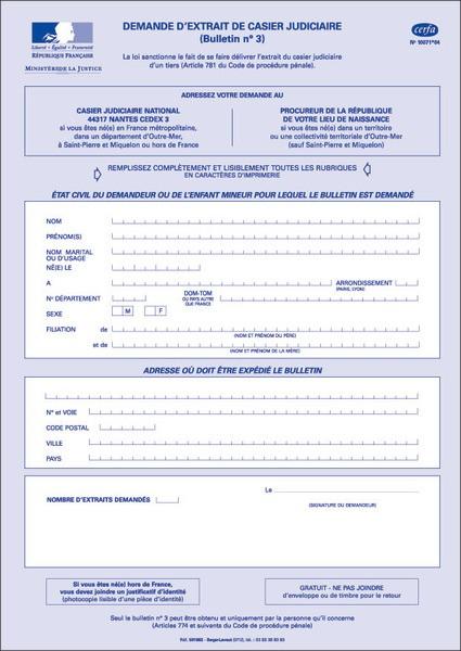 demande casier judiciaire par courrier