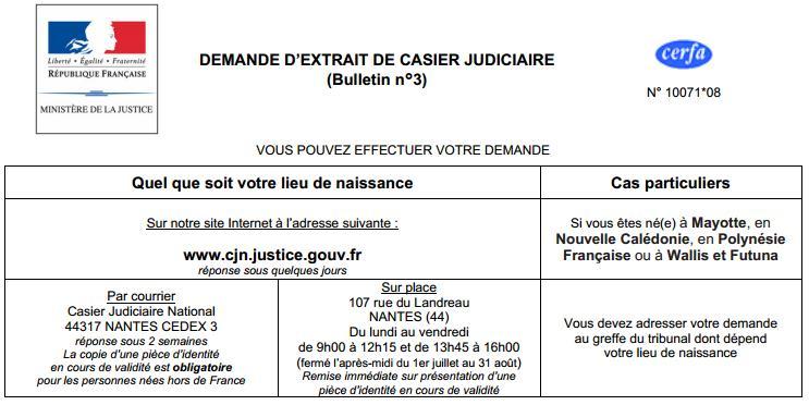 demande extrait casier judiciaire n 3