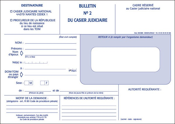 extrait casier judiciaire gendarmerie